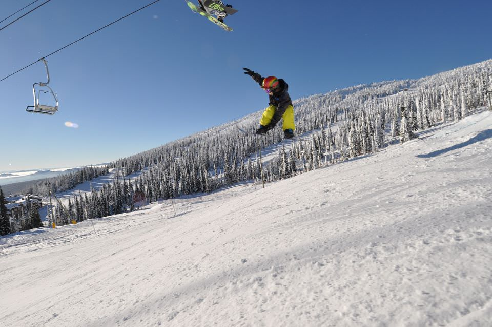 skier flying down the slope