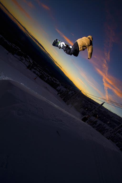 Ski jump with sunset